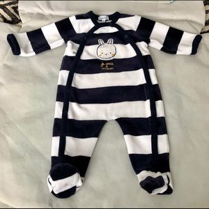 Absorba velour navy and white stripe footed onesie
